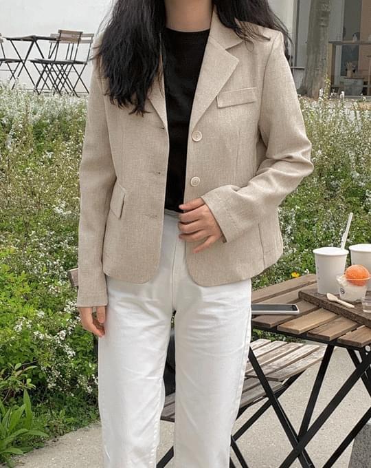 Mesen Linen Collar Short Jacket - 3 color