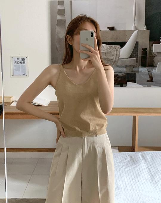 Caryl Linen V-Neck Sleeveless Knitwear - 3 color