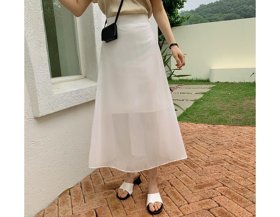 mist see-through banding skirt