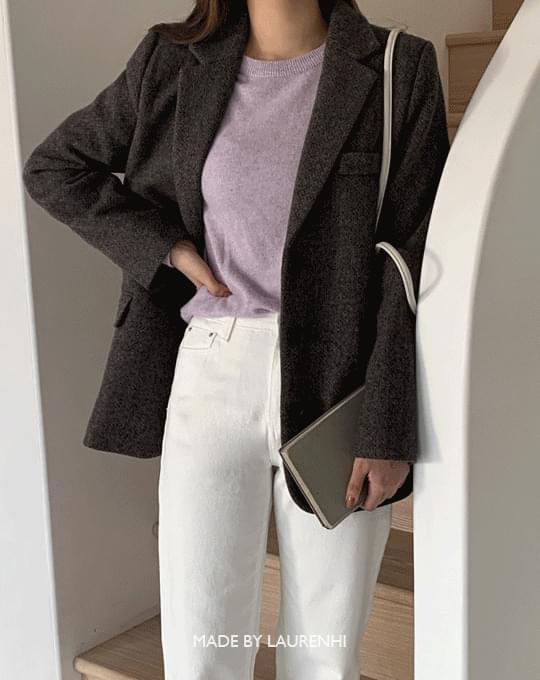 Low bokashi wool midi jacket - 2 color