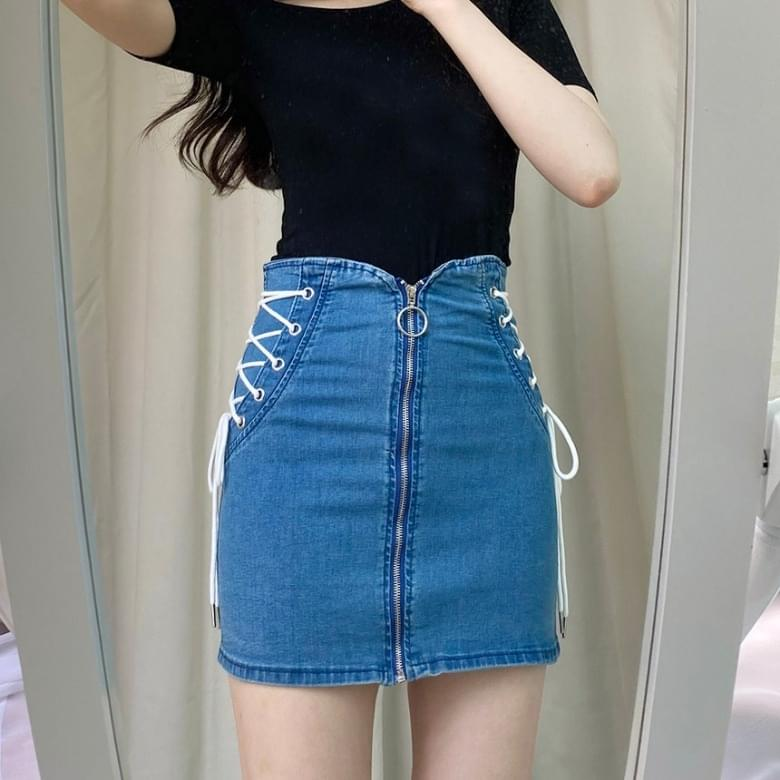 high-waisted eyelet denim skirt
