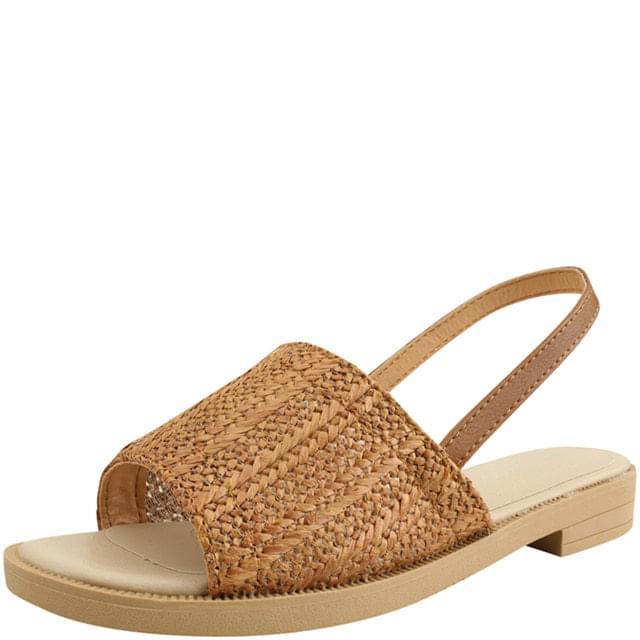 Rattan Mesh Slingback Flat Sandals Jean Beige
