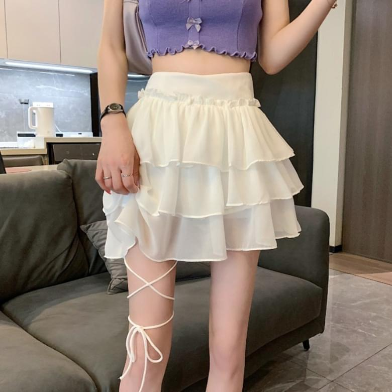 High Waist Chiffon Cancan Mini Skirt