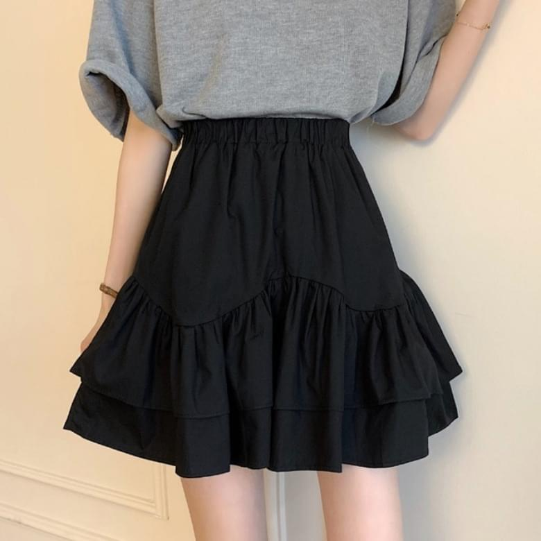 wave-stitched sweet frill skirt