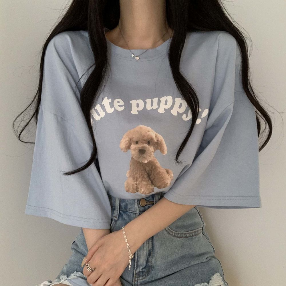 Loose-fit puffy print short sleeve t