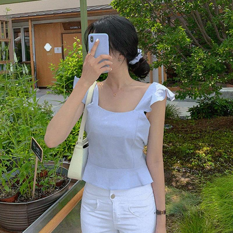 Pudding frill Sleeveless blouse 襯衫
