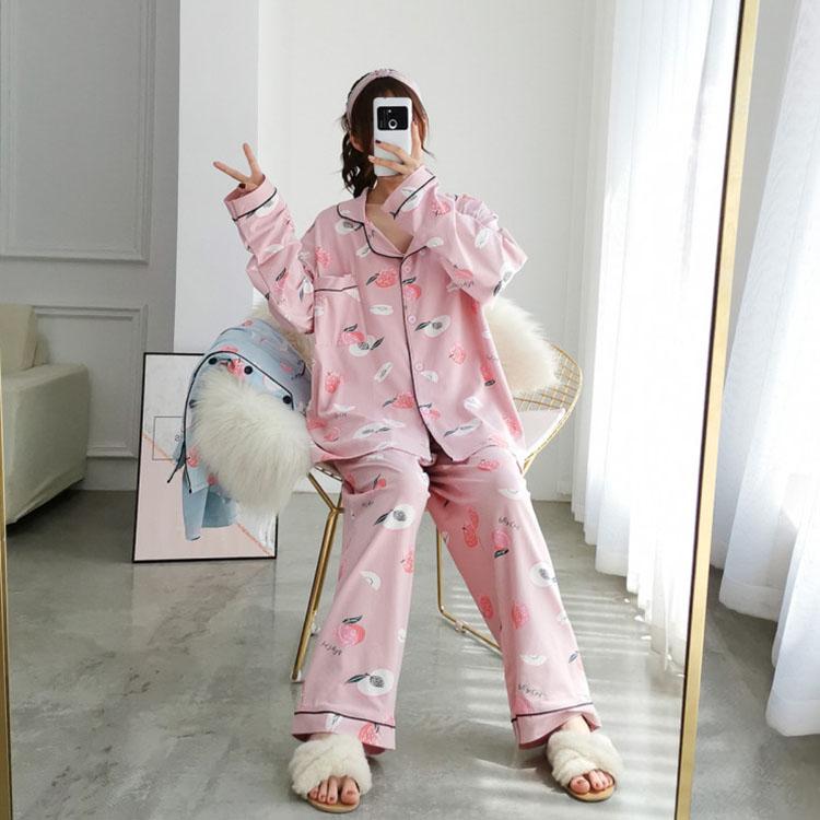Peach Apple Line Long Sleeve Long Pants Pajama Set Big Size 4XL-5XL 77-120
