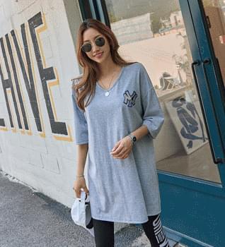Sequin Patch Short Sleeve Long T-shirt #109100