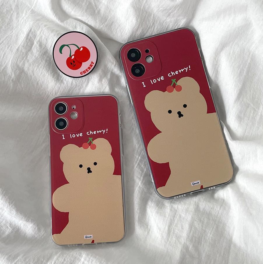 Soybean Love Cherry Teddy Bear Full Cover iPhone Case