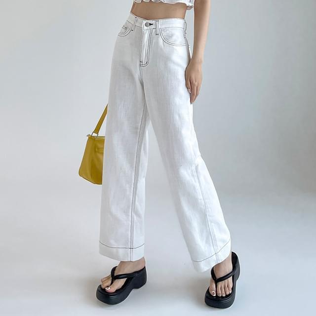 Wearing stitch wide cotton pants 長褲