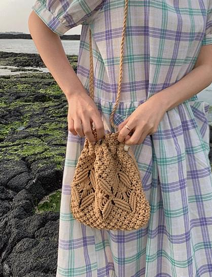 Almond Knitted Mini Cross Bag