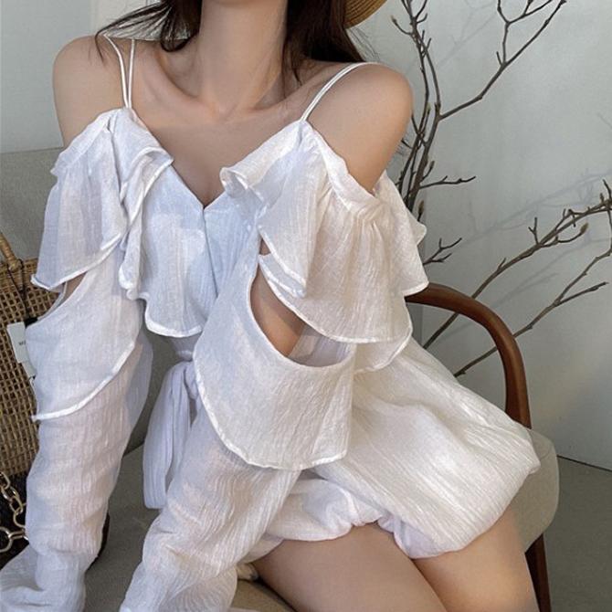 Ruffle Off Shoulder Chiffon Shirt Dress