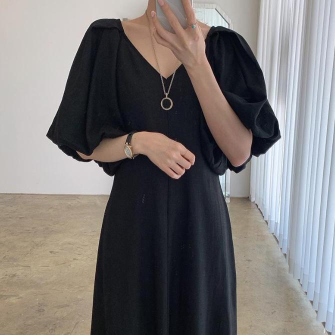 Soft V Neck Puff A Line Long Dress