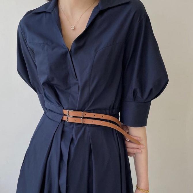 Chenin Basic Modern Belt Shirt Dress