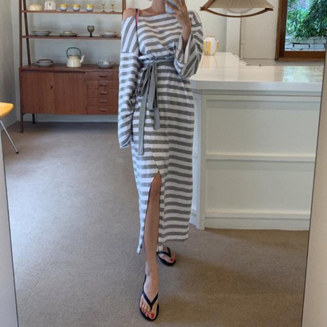 One Shoulder Stripe Split Long Dress