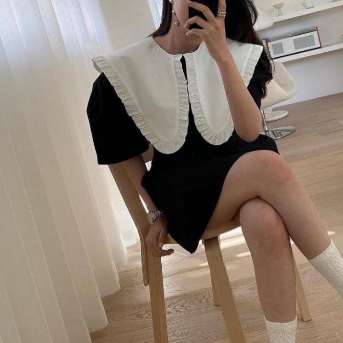Sweety Big Ruffle Collar Mini Dress