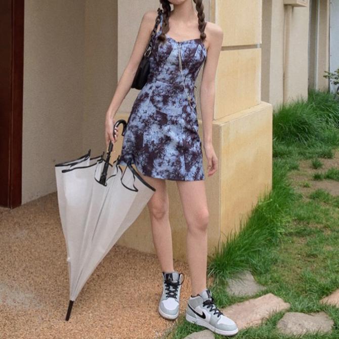 Chain Print Navy Sleeveless Dress