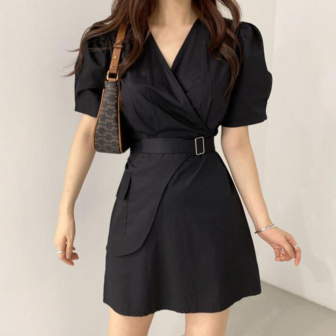 Vine V Neck Wrap Belt Puff Sleeve Dress