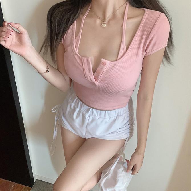 Soft 2-in-1 Button Top Sleeveless T-Shirt