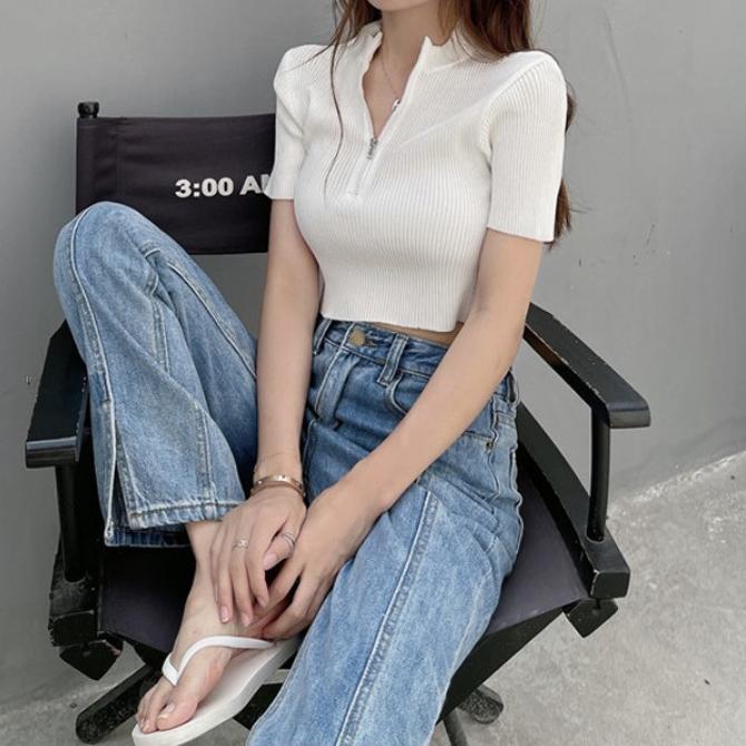 Chic Plain Zipper Ribbed Knitwear Crop Tee