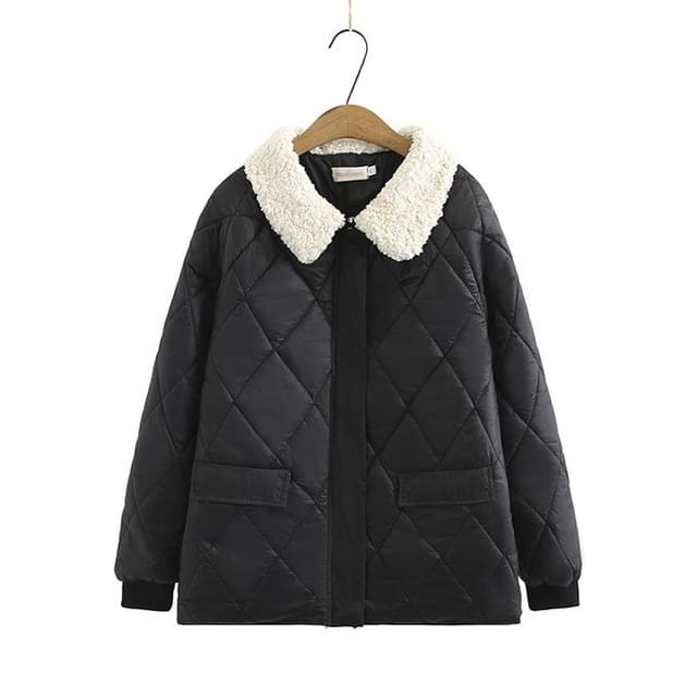 Big Size 66-120 Eco Fur Collar Embo Black Jacket