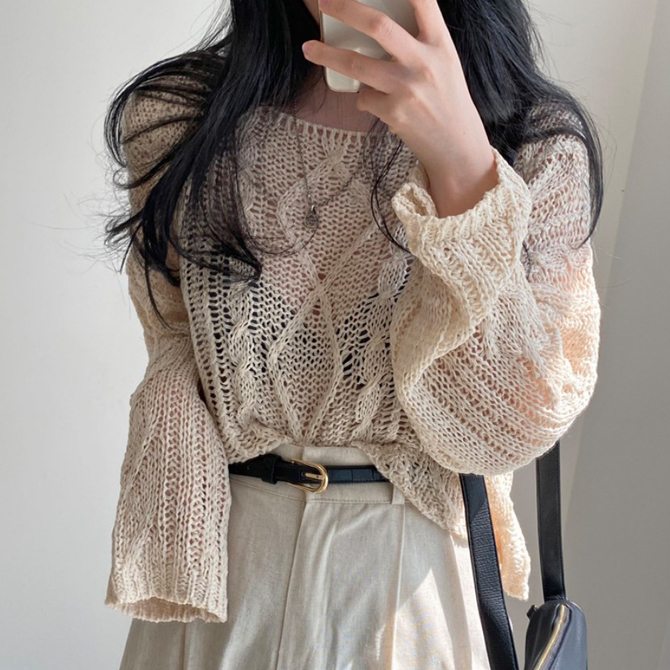Loose Fit UV Protection Knitwear Long Sleeve Tee