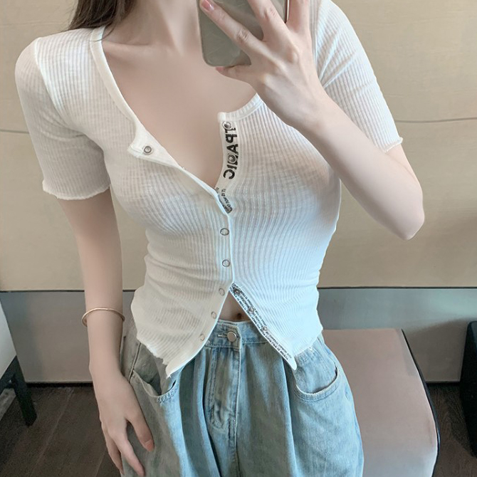 Slim Line Ribbed Knitwear Short Sleeve T-shirt