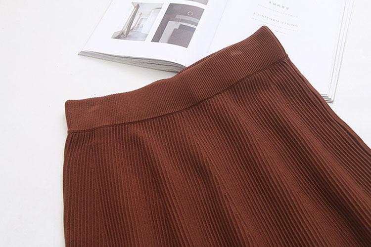 Solid Waist Banding Emboss Knitwear Midi Long Flared Skirt Big Size 2XL-3XL 28-40 Inch