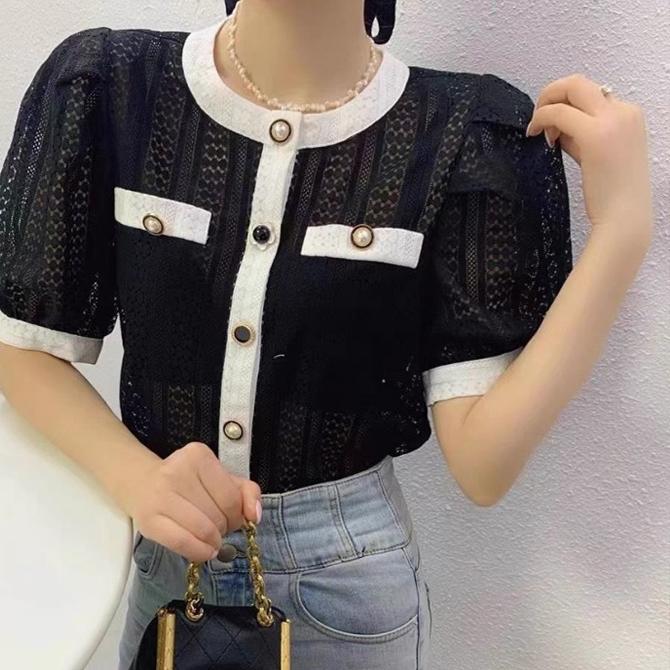 round neckline lace button shirt cardigan
