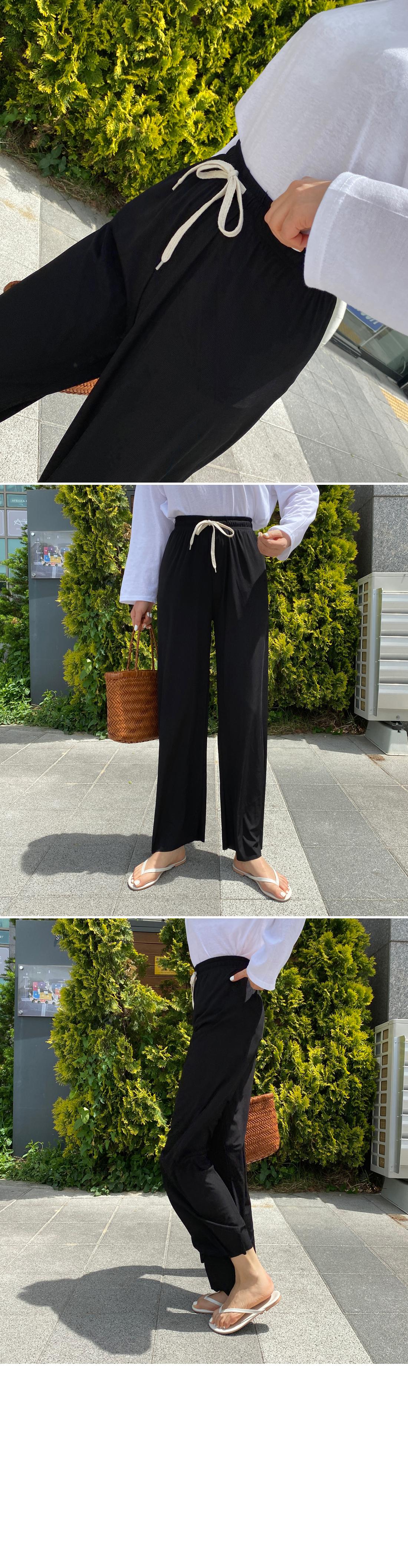 Almond String Zan Ribbed Banding Pants