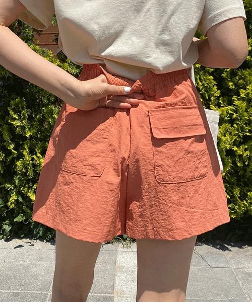 Embroidered Nylon Pintuck Banding Shorts