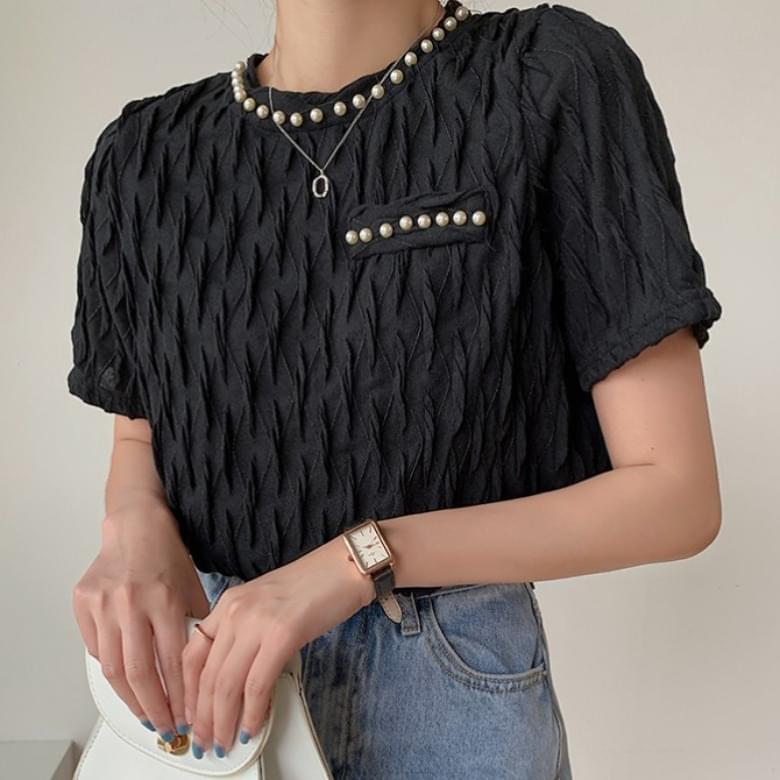 Meijou Modern Pearl Round Simple T-shirt