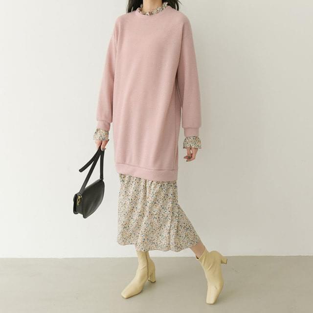 Big Size 55-88 Flower Ruffle Layered Dress