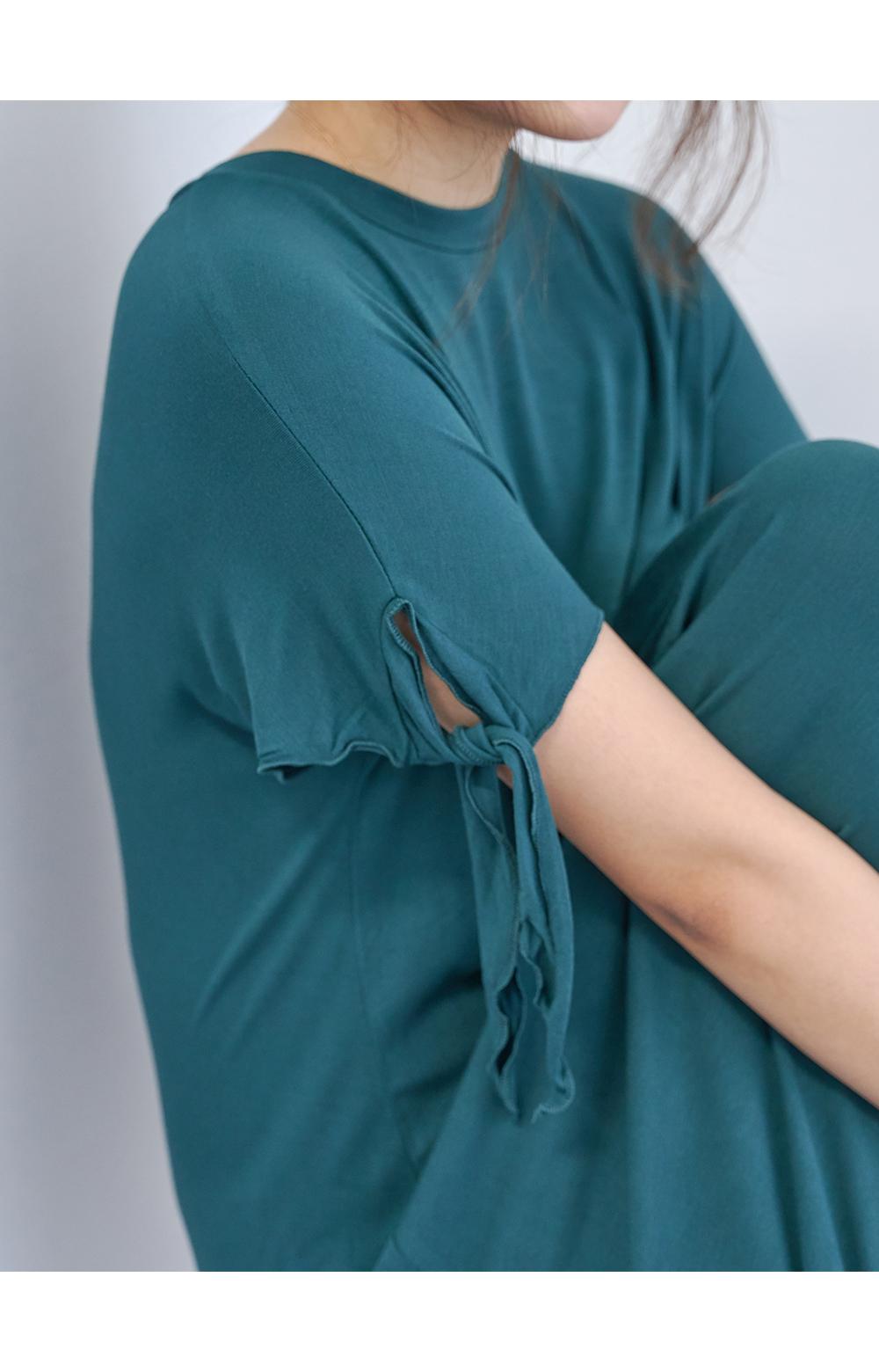Sleeve Ribbon Shirring Long Dress Big Size