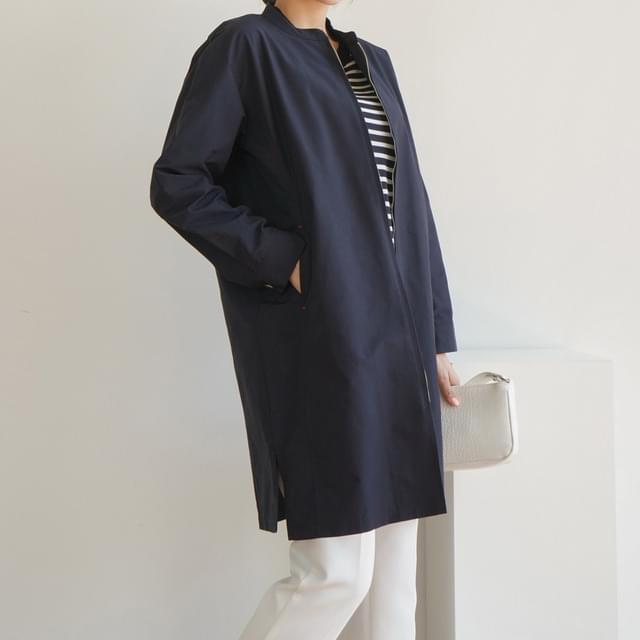 Nylon Zip-Up Solid Safari Coat Big Size 66-88