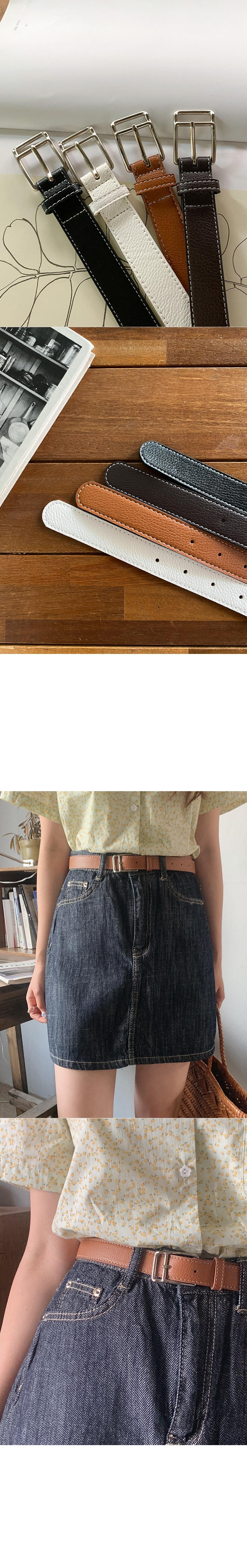 Yuko stitch leather belt