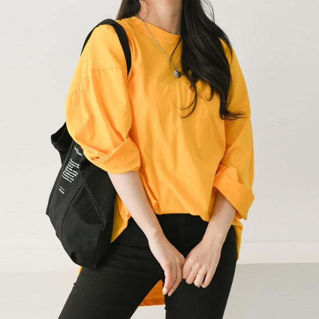 Solid Cotton Long Sleeve T-shirt Big Size 66-120