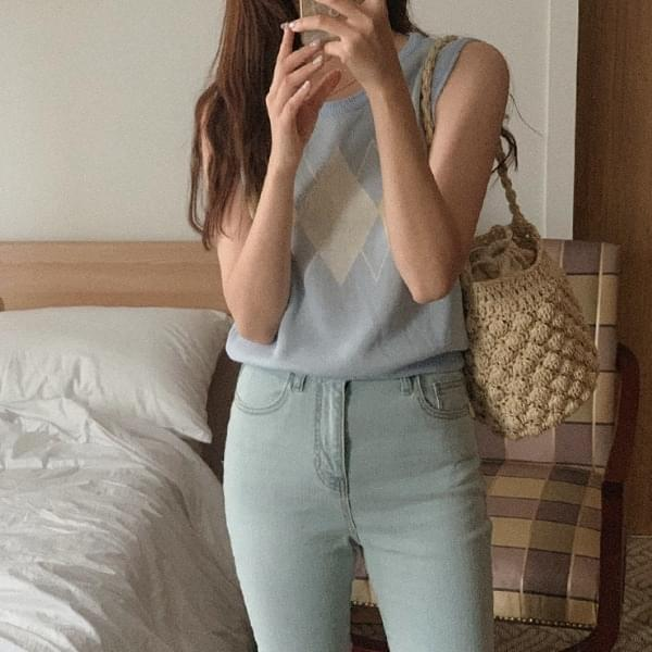 Mimiyu Argyle Knitwear Sleeveless