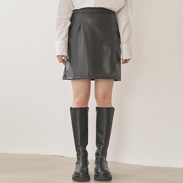 slit leather mini skirt