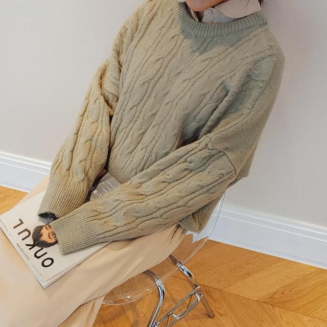 Big Size 55-120 Twisted Crop Loose-fit Fit Knitwear