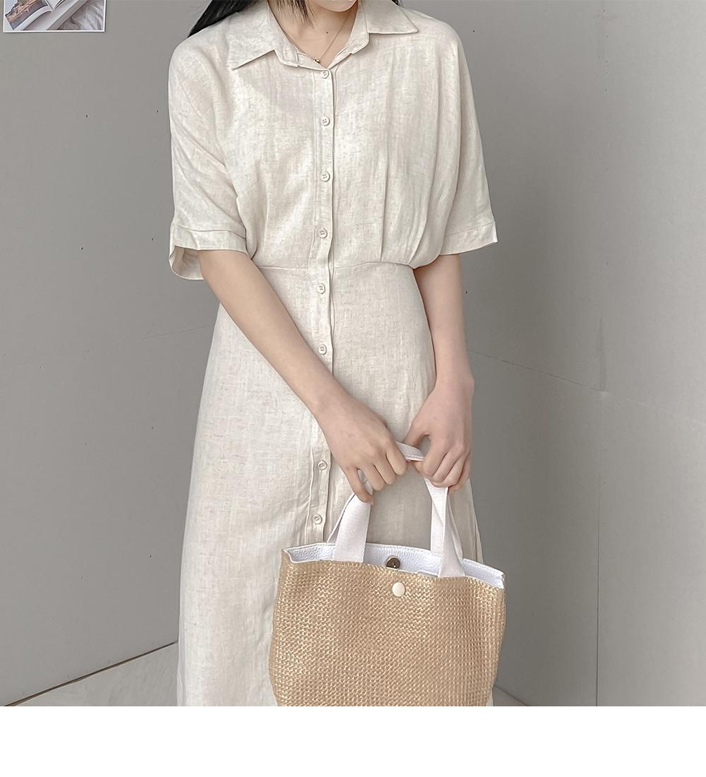 Feminine Strap Long Collar Dress