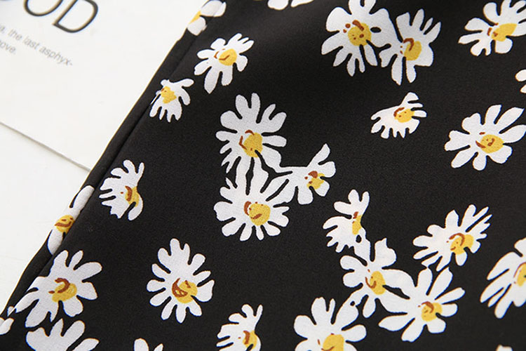 Big Size 28-40 Inch Flower Shirring Long Skirt