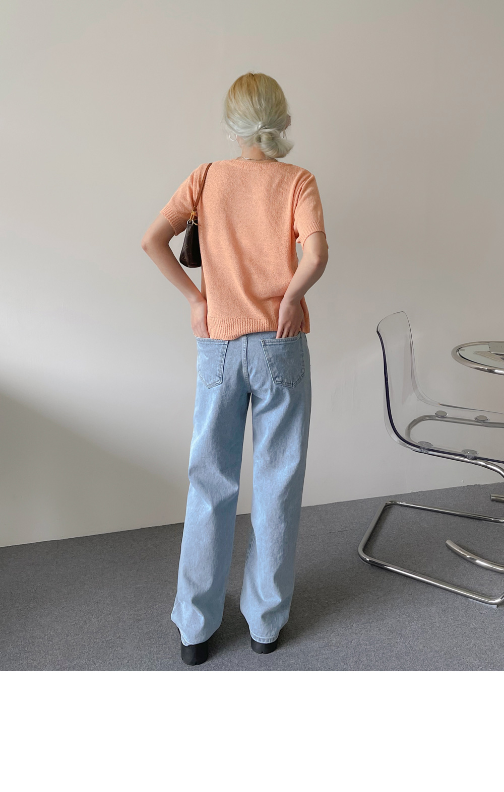 Waze Light Blue Date Wide Denim Pants