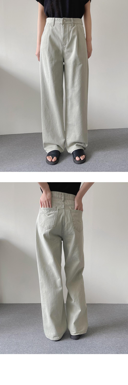 Denim Pintuck Wide Denim Pants