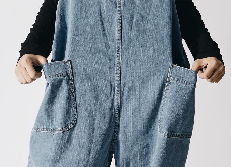 Light Blue ohbeool suspenders jeans pocket Big size 2XL-5XL 77-120