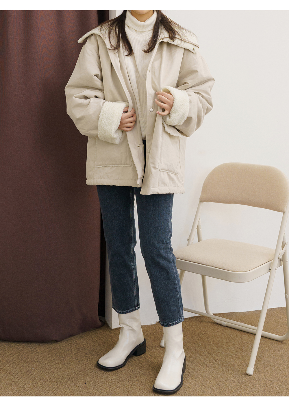Big Size 55-120 More High Neck Fleece Loose-fit Fit Field Jacket