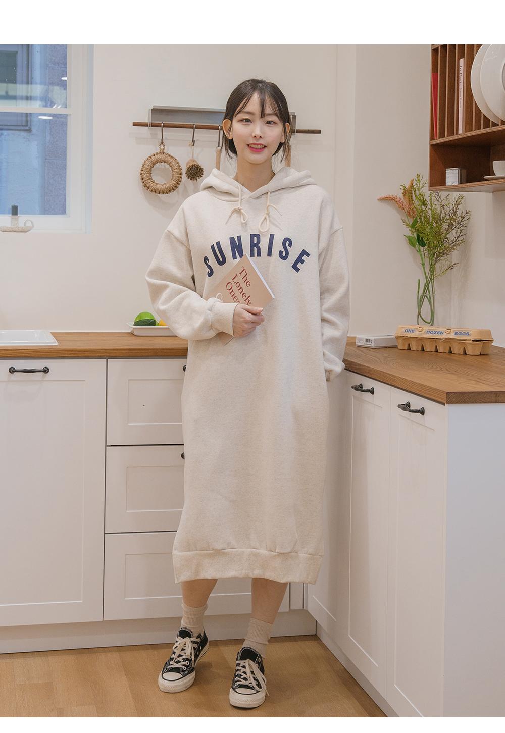 Big Size 55-99 Sunrise Hooded Long Fleece-lined Dress
