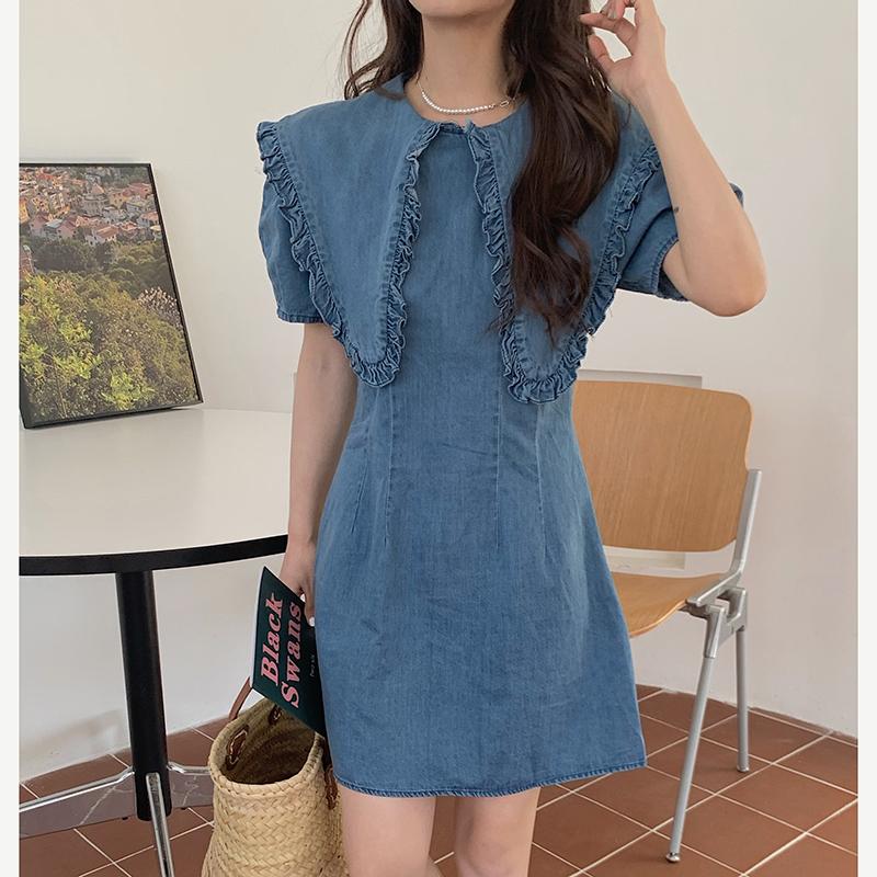 op4916 Melmo Big Collar Denim Dress