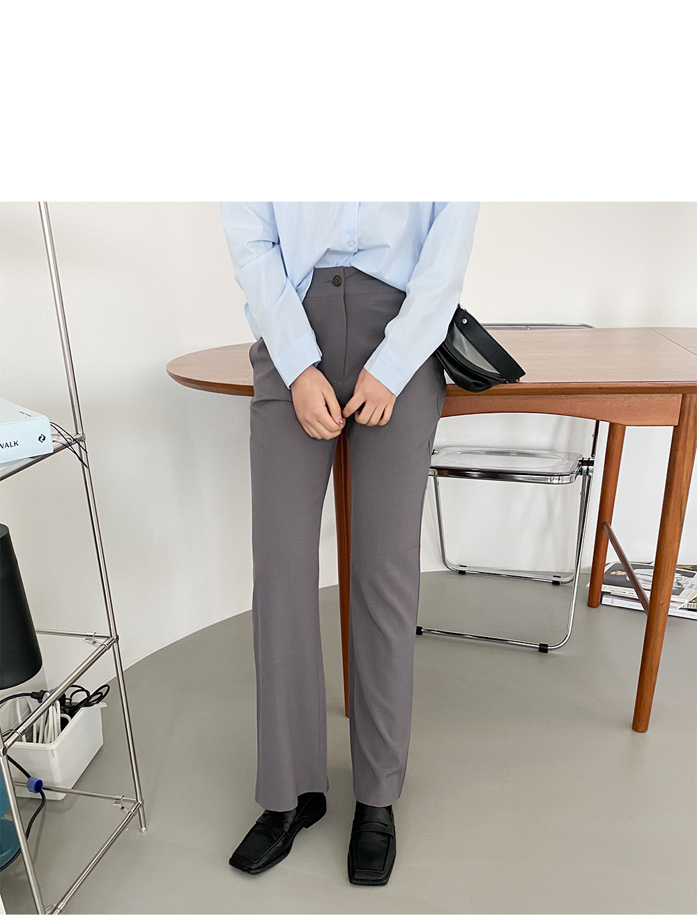 Big 26-38 inch high banding slit Flared slacks