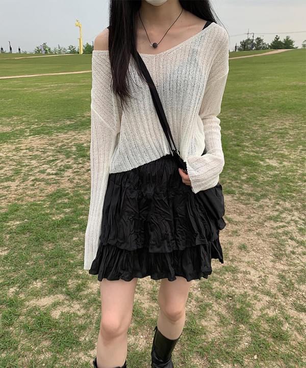 Ribbed Crop V Knitwear
